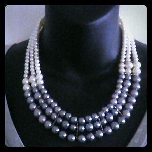 Nwot strands of White/Silver and Dark gray pearls